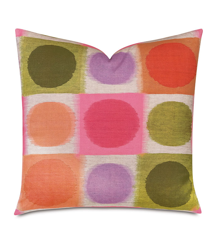 Flossie Abstract Decorative Pillow - ,22X22 PILLOW,CIRCLE PILLOW,COLORFUL PILLOW,ABSTRACT PRINT,RAINBOW PILLOW,PINK PILLOW,KIDS DECOR,LUXURY PILLOW,COTTON PILLOW,CIRCLE PRINT,PRINTED COTTON,PRIMARY PILLOW,