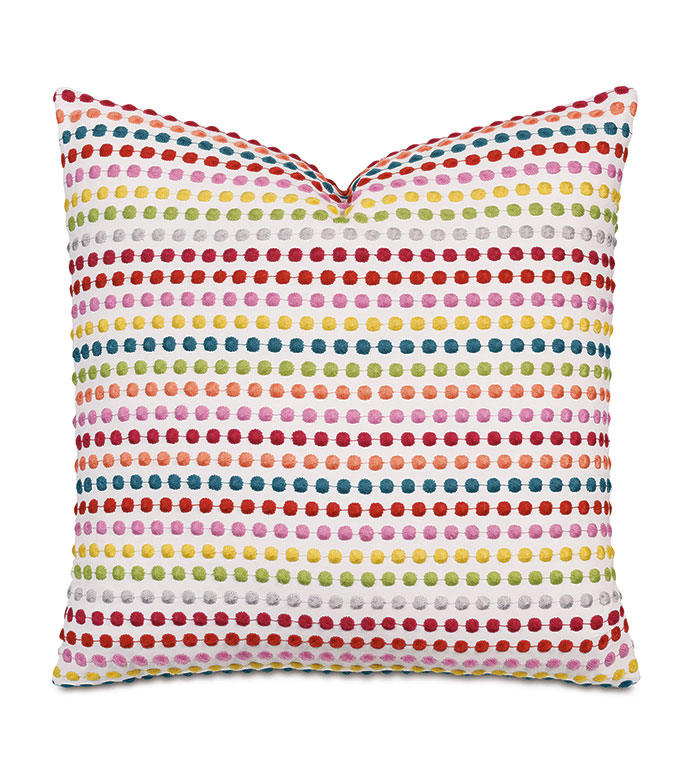 Zita Embroidered Decorative Pillow - ,POLKA DOT PILLOW,POLKA DOT EMBROIDERY,DOTTED PATTERN,RAINBOW EMBROIDERY,COLORFUL EMBROIDERY,LUXURY PILLOW,KIDS DECOR,COLORFUL PILLOW,EMBROIDERED PILLOW,TEXTURED EMBROIDERY,