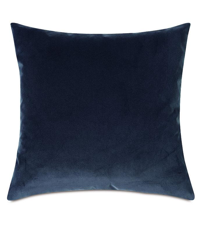Plush Velvet Decorative Pillow In Denim - VELVET,BLUE VELVET,VELVET PILLOW,DECORATIVE PILLOW,THROW PILLOW,ACCENT PILLOW,BLUE VELVET THROW PILLOW,100% COTTON VELVET, DRY VELVET, BLUE 100% COTTON VELVET,PILLOW,BLUE PILLOW,