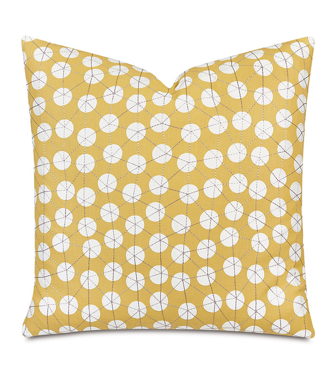 Ollie Embroidered Decorative Pillow In Sunshine - decorative pillow,accent pillow,throw pillow,22x22,square,yellow,yellow pillow,graphic,midcentury,retro,modern,embroidered,embroidery,texture,pattern,retro pillow,midcentury pillow