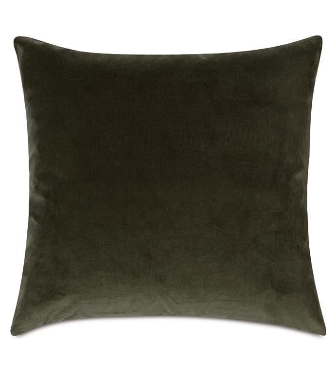 Uma Velvet Decorative Pillow In Olive - ,22X22 PILLOW,LARGE PILLOW,SQUARE PILLOW,OLIVE PILLOW,GREEN PILLOW,GREEN VELVET,OLIVE VELVET,LUXURY VELVET,VELVET PILLOW,VELVET THROW PILLOW,LUXURY DECORATIVE PILLOW,OLIVE GREEN,