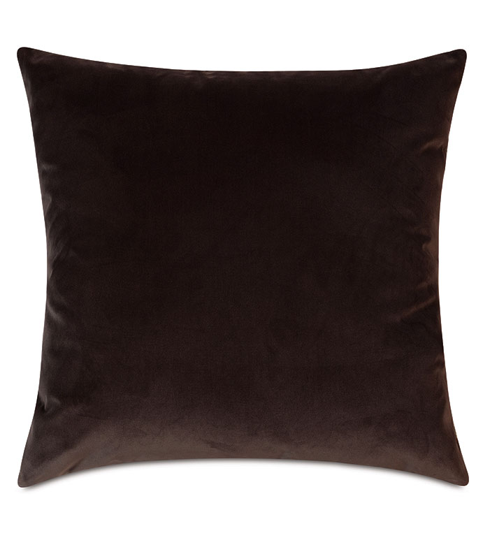 Uma Velvet Decorative Pillow In Brown - ,22X22 PILLOW,LARGE PILLOW,LUXURY PILLOW,BROWN PILLOW,BROWN VELVET,VELVET PILLOW,CHOCOLATE VELVET,DARK VELVET,LUXURY PILLOW,LUXURY VELVET,BROWN THROW PILLOW,VELVET DECOR,