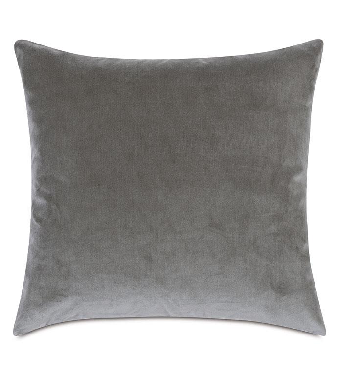 Uma Velvet Decorative Pillow In Gray - ,22X22 PILLOW,LARGE PILLOW,LUXURY PILLOW,GRAY PILLOW,VELVET PILLOW,GRAY VELVET,LIGHT GRAY VELVET,LUXURY VELVET,VELVET THROW PILLOW,LUXURY PILLOW,SILVER VELVET,SILVER PILLOW,