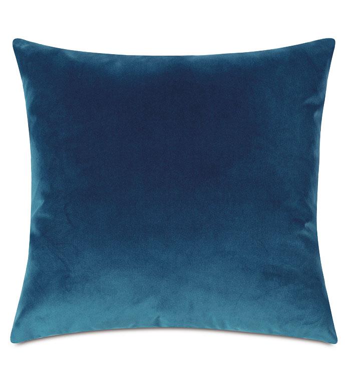 Uma Velvet Decorative Pillow In Blue - ,22X22 PILLOW,BLUE PILLOW,BLUE THROW PILLOW,VELVET PILLOW,BLUE VELVET,LUXURY VELVET,VELVET THROW PILLOW,LARGE PILLOW,LUXURY VELVET,LUXURY PILLOW,BLUE DECORATIVE PILLOW,