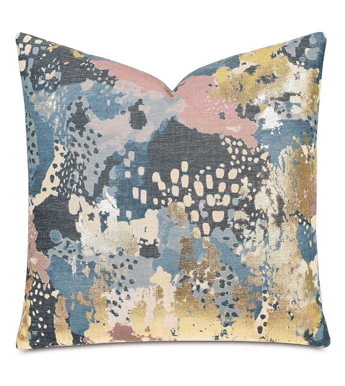 Chalamet Metallic Decorative Pillow in Dusk - DECORATIVE PILLOW,THROW PILLOW,ACCENT PILLOW,ABSTRACT,METALLIC,GLAM,BLUE,PINK,GOLD,MADE IN USA,LUXURY,HIGH END,22X22,SQUARE,REVERSIBLE,ARTSY,MODERN,PRINT,PATTERN,PILLOW,DECOR,