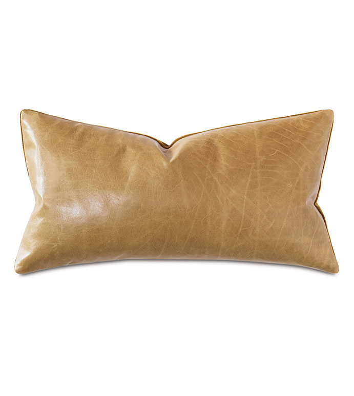 Tudor Decorative Pillow In Gold - GOLD,LEATHER,VELVET,GOLD LEATHER,GOLD PILLOW,GOLD VELVET,METALLIC,METALLIC PILLOW,GOLD LEATHER PILLOW,MADE IN USA,OPULENT,TRADITIONAL,TRADITIONAL PILLOW,ACCENT PILLOW,GOLD ACCENT,