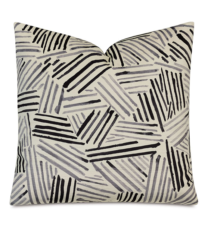 Giacometti Brush Strokes Decorative Pillow - DECORATIVE PILLOW,ACCENT PILLOW,THROW PILLOW,PILLOW,ABSTRACT,ARTSY,MODERN,BLACK AND WHITE,MONOCHROME,BLACK AND WHITE PILLOW,LUXURY,22X22,SQUARE,MADE IN USA,REVERSIBLE,BRUSH STROKE,