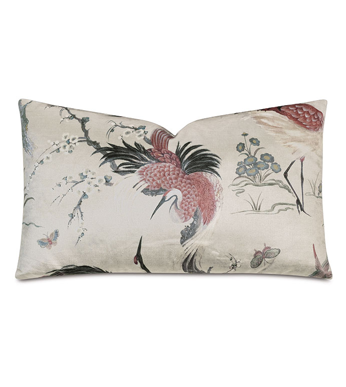 Fowler Velvet Decorative Pillow - DECORATIVE PILLOW,THROW PILLOW,ACCENT PILLOW,CRANE,JAPANESE,BIRD,VELVET,ASIAN,PINK,JAPANESE CRANE,JAPANESE PATTERN,JAPANESE DESIGN,CRANE PATTERN,CRANE DESIGN,PRINT,13X22,RECTANGLE