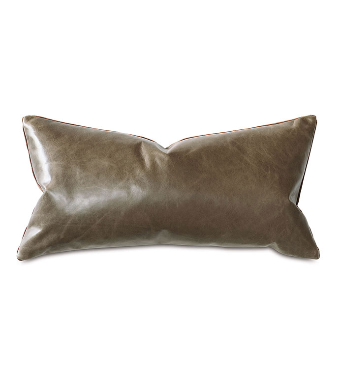 Tudor Leather Decorative Pillow In Cocoa - BROWN,LEATHER,VELVET,PILLOW,BROWN PILLOW,BROWN LEATHER,BROWN VELVET,MOUNTAIN,RUSTIC,MASCULINE,MADE IN USA,100% LEATHER,ACCENT PILLOW,THROW PILLOW,RECTANGULAR,11X21,LUMBAR