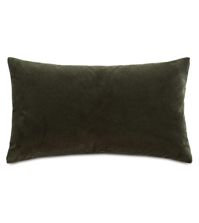 Uma Velvet Decorative Pillow In Olive Green - ,15X26 PILLOW,LARGE BOLSTER,VELVET BOLSTER,GREEN BOLSTER,GREEN PILLOW,GREEN VELVET,VELVET PILLOW,LUXURY PILLOW,LUXURY VELVET,GREEN THROW PILLOW,OLIVE VELVET,OLIVE PILLOW,
