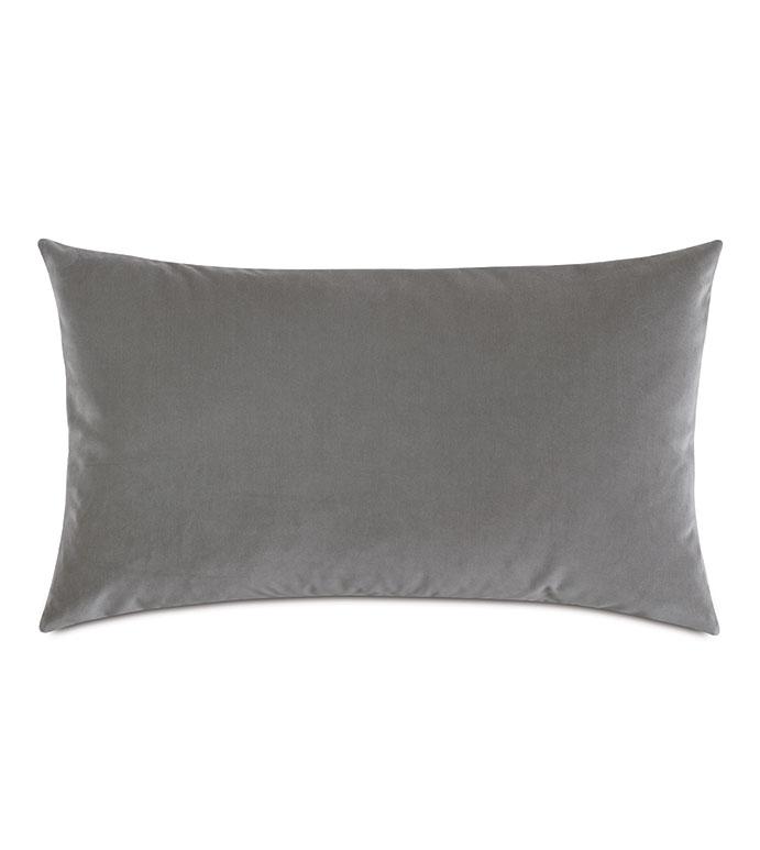 Uma Velvet Decorative Pillow In Gray - ,15X26 PILLOW,LARGE BOLSTER,LARGE PILLOW,VELVET BOLSTER,LUXURY BOLSTER,GRAY VELVET,LIGHT GRAY PILLOW,VELVET PILLOW,LUXURY VELVET,GRAY BOLSTER,DOVE GRAY,VELVET THROW PILLOW,