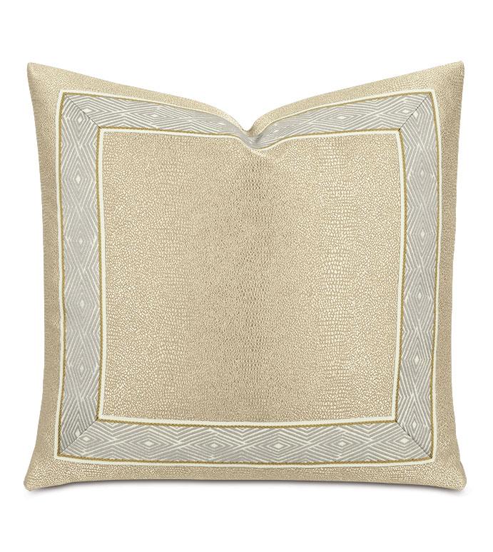Dunaway Diamond Border Decorative Pillow in Fawn - ,gold pillow,metallic pillow,metallic gold pillow,champagne pillow,metallic throw pillow,textured pillow,decorative border pillow,gold decor,glam pillow,glam decor,