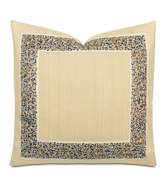 Folly Embroidered Border Decorative Pillow in Sand - ,tan pillow,gold pillow,embroidered pillow,embroidered trim,embroidered tape,glam pillow,glam decor,tan throw pillow,decorative border,luxury decorative pillow,abstract embrodiery,