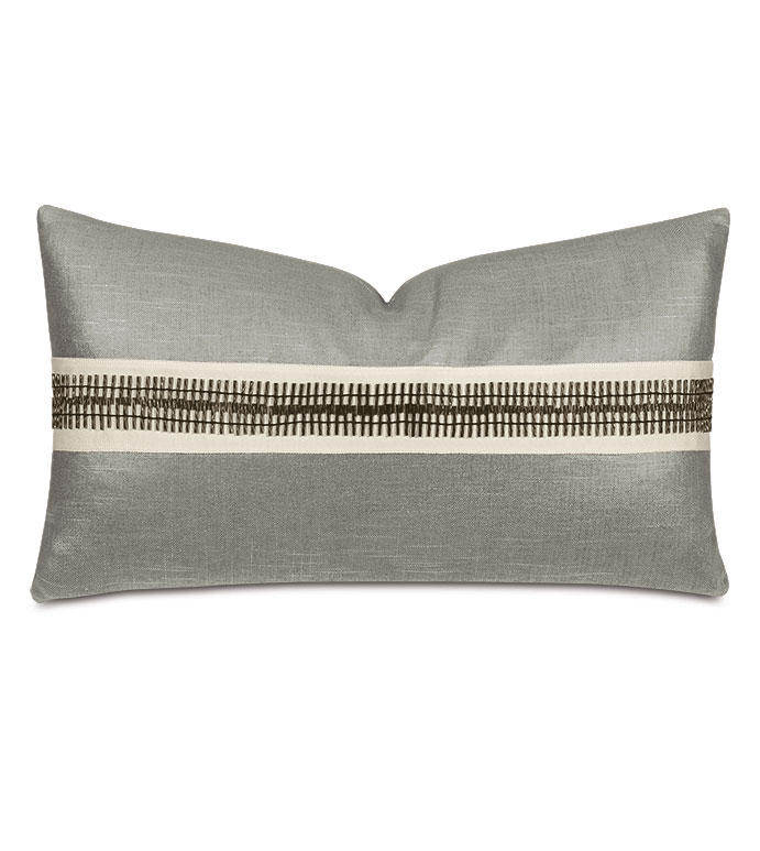 Dax Beaded Trim Decorative Pillow in Taupe - ,taupe pillow,metallic pillow,metallic taupe pillow,glam pillow,glam decor,luxury pillow,beaded trim,beaded decorative border,metallic throw pillow,glamorous pillow,