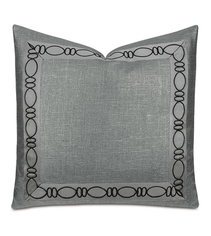 Dax Ovals Decorative Pillow in Black - ,metallic pillow,gunmetal pillow,metallic black pillow,glam pillow,cord decorative trim,shiny decorative pillow,metallic fabric,dark gray pillow,luxury throw pillow,