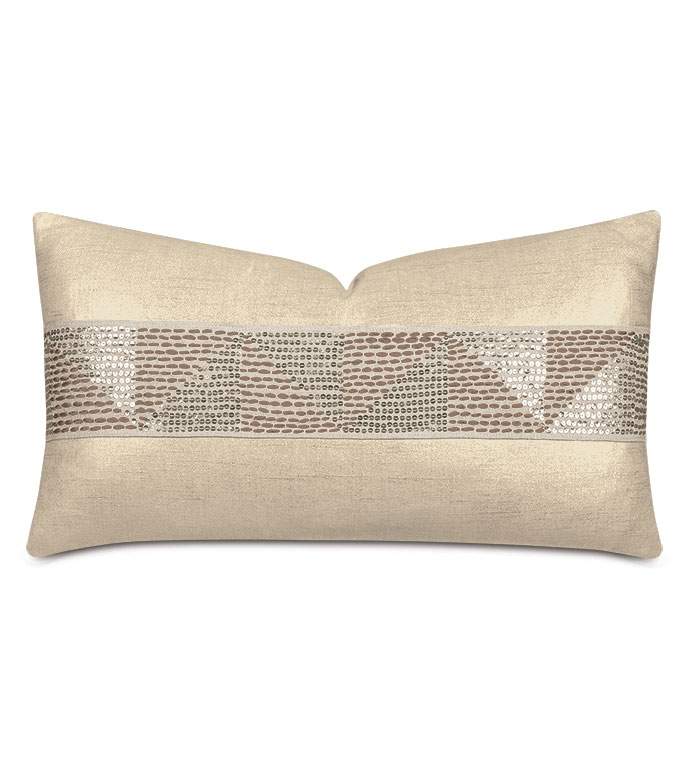 Dax Sequined Tape Decorative Pillow in Gold - ,gold pillow,metallic pillow,metallic gold pillow,glam pillow,glad decor,sequined pillow,shiny pillow,luxury pillow,gold throw pillow,sequined trim,gold bedding,