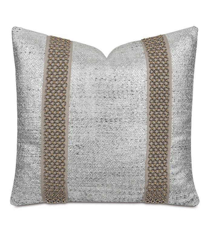 Hebrides Beaded Border Decorative Pillow - ,silver pillow,metallic silver pillow,scale fabric,silver fabric,metallic pillow,glam pillow,fish scale fabric,silver throw pillow,glam pillow,silver bedding,luxury throw pillow,