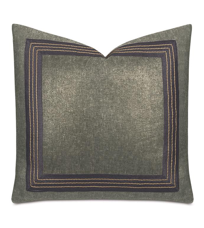 Leonis Stitch Border Decorative Pillow - ,100% linen pillow,metallic linen,shiny linen,taupe linen,linen throw pillow,gray pillow,metallic gray linen,glam pillow,stitch design,stitch trim,stitch decorative border,