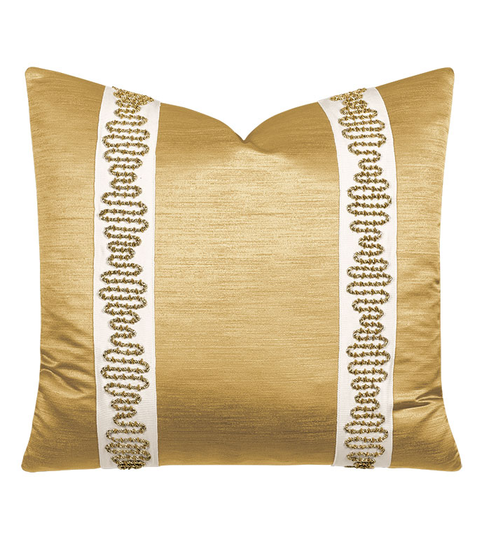 Lucent Metallic Border Decorative Pillow in Gold - ,gold pillow,metallic gold pillow,glam pillow,metallic pillow,metallic gold fabric,embroidered trim,embroidered decorative border,glamorous pillow,luxury throw pillow,shiny pillow,
