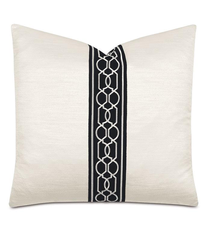 Lucent Trellis Tape Decorative Pillow in Opal - ,pearlescent pillow,metallic white pillow,metallic pillow,black and white pillow,metallic white fabric,luxury throw pillow,shiny pillow,reflective pillow,pearlescent fabric,