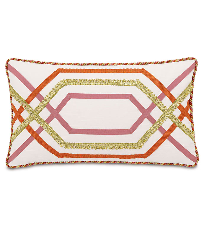 Witcoff Ivory With Trims - WHITE AND PINK PILLOW,TRIM DESIGN,PINK AND ORANGE,BRIGHT STRIPED PILLOW,COLORFUL STRIPED,GRAPHIC DESIGN,GEOMETRIC PILLOW,FEMININE PILLOW,ECLECTIC,CONTEMPORARY,TEEN GIRLS PILLOW