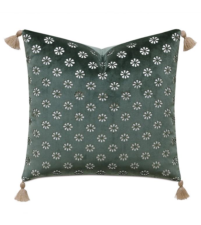 Mint Punch Lasercut Accent Pillow In Dark Green - ACCENT PILLOW,THROW PILLOW,ACCENT PILLOW,CELERIE KEMBLE FOR EASTERN ACCENTS,DARK GREEN,BOHO CHIC,VELVET,LASERCUT,