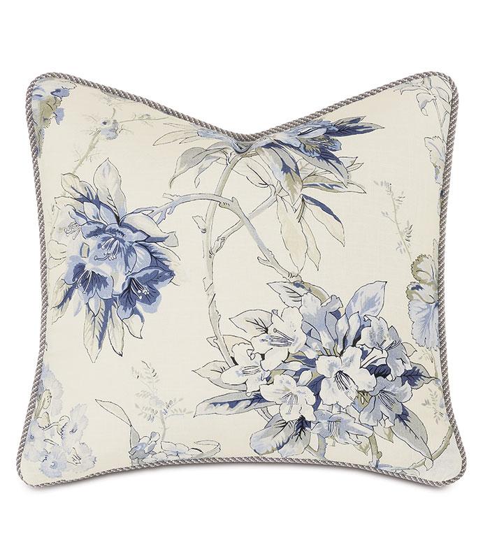 Liesl Floral Decorative Pillow - ,20X20 PILLOW,FLORAL PRINT PILLOW,PASTEL PRINT,SQUARE PILLOW,GRAY PILLOW,BLUE PILLOW,LUXURY PILLOW,CELERIE KEMBLE,CORD TRIM,CORD EDGEPILLOW,WATERCOLOR PRINT,AZALEA PRINT,