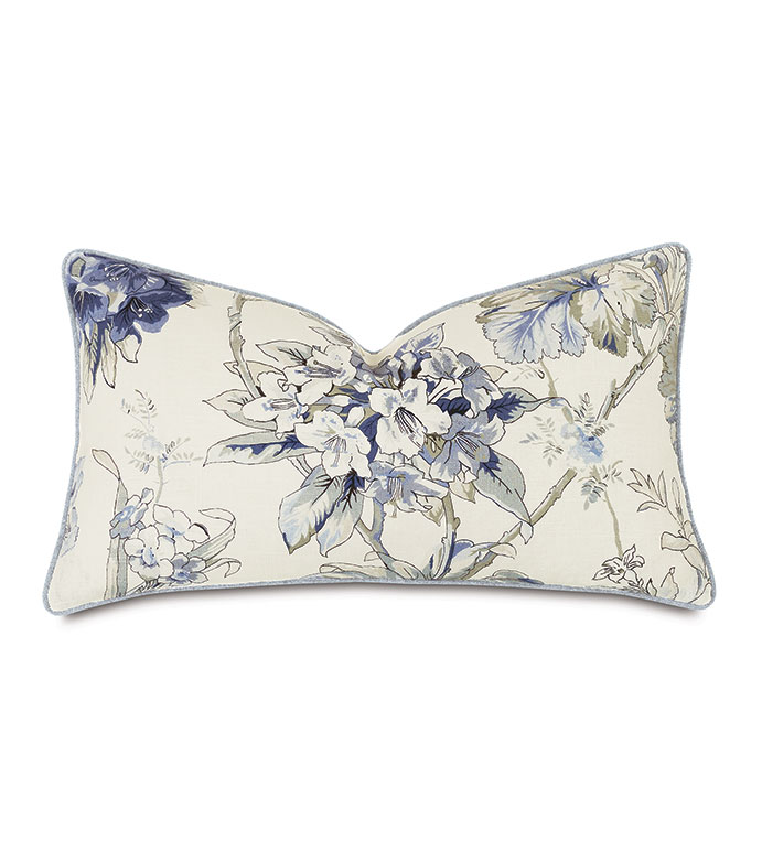 Liesl Floral Decorative Pillow - ,13X22 PILLOW,FLORAL PRINT PILLOW,PASTEL PRINT,RECTANGLE PILLOW,GRAY PILLOW,BLUE PILLOW,LUXURY PILLOW,CELERIE KEMBLE,WATERCOLOR PRINT,FLORAL PILLOW,
