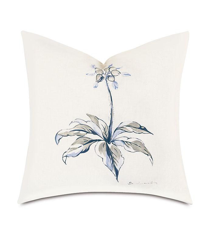 Liesl Handpainted Decorative Pillow - ,20X20 PILLOW,FLORAL PILLOW,PASTEL PRINT,SQUARE PILLOW,GRAY PILLOW,BLUE PILLOW,LUXURY PILLOW,CELERIE KEMBLE,KNIFE EDGE FINISH,WATERCOLOR PRINT,HAND-PAINTED PILLOW,