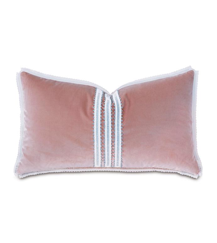 Adare Manor Lace-Trim Decorative Pillow - DECORATIVE PILLOW,VELVET,LACE,THROW PILLOW,ACCENT PILLOW,LUXURY BEDDING,DESIGNER,GIRLY,PINK,MATTE,FEMININE,
