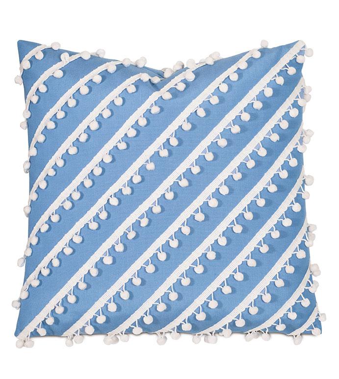 Cove Ball Trim Decorative Pillow in Blue - PILLOW,OUTDOOR PILLOW,WEATHERPROOF,WATERPROOF,SUNBRELLA,TROPICAL,BLUE,20X20,SQUARE,BALL TRIM,STRIPE,TEXTURE,POM-POMS,POM-POM,WHITE,BLUE OUTDOOR PILLOW,BLUE AND WHITE OUTDOOR PILLOW