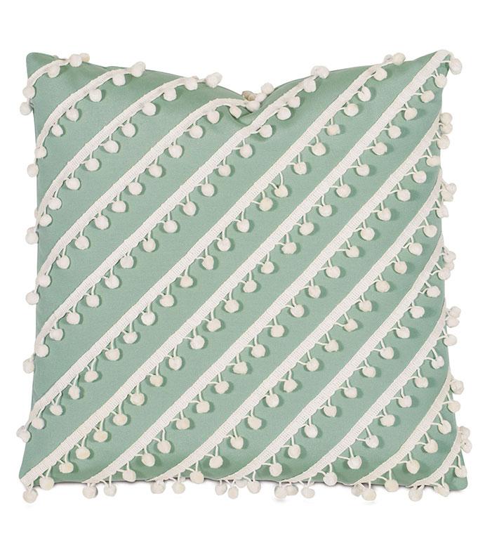 Cove Ball Trim Decorative Pillow in Celadon - PILLOW,OUTDOOR PILLOW,WEATHERPROOF,WATERPROOF,SUNBRELLA,TROPICAL,GREEN,20X20,SQUARE,BALL TRIM,STRIPE,TEXTURE,POM-POMS,POM-POM,WHITE,GREEN OUTDOOR PILLOW,PASTEL,PASTEL GREEN,
