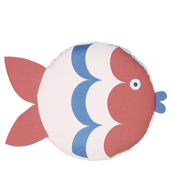 Pez Fish Decorative Pillow (Left) - PILLOW,OUTDOOR PILLOW,FISH PILLOW,TAMBOURINE CUSHION,THROW PILLOW,MILDEW PROOF PILLOW,CUSTOMIZABLE PILLOW,SUNBRELLA PILLOW,WHIMSICAL PILLOW,CELERIE KEMBLE PILLOW,ROUND,TAMBOURINE,