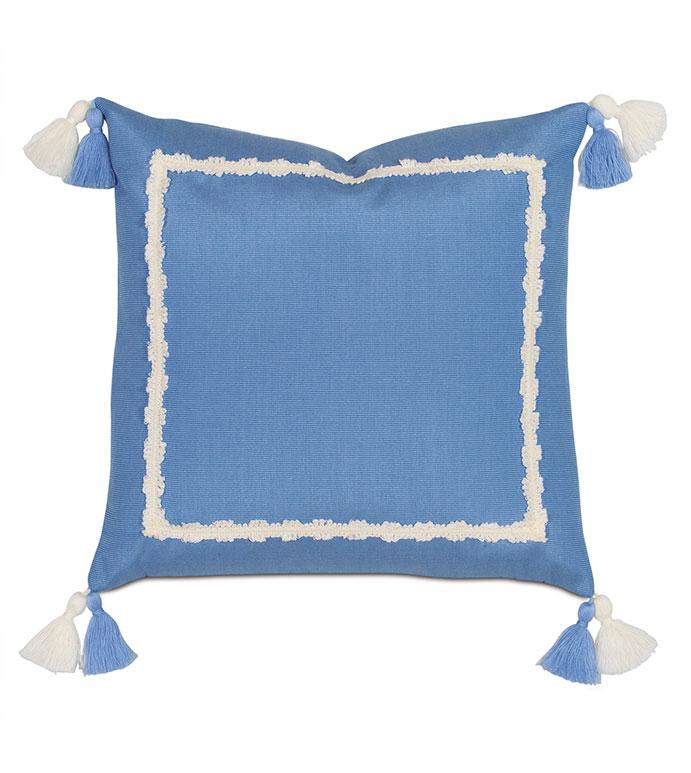 Everglades Double Tassel Decorative Pillow - PILLOW,OUTDOOR,SUNBRELLA,OUTDOOR PILLOW,BLUE,PASTEL,BLUE OUTDOOR PILLOW,TASSEL,PILLOW WITH TASSELS,BLUE PILLOW WITH TASSELS,KIDS,GIRL'S,MITERED,BLUE AND WHITE,BLUE AND WHITE PILLOW