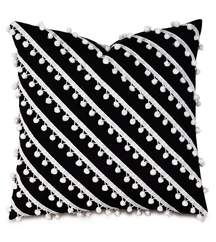 Cove Ball Trim Decorative Pillow in Black - PILLOW,OUTDOOR PILLOW,BLACK PILLOW,BLACK AND WHITE OUTDOOR PILLOW,POM POMS,POM-POM,MONOCHROME,20X20,SQUARE,