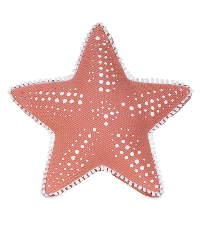 Oasis Coral Starfish - PILLOW,OUTDOOR PILLOW,STAR PILLOW,CORAL PILLOW,LASER CUT CUSHION,THROW PILLOW,MILDEW PROOF PILLOW,CUSTOMIZABLE PILLOW,SUNBRELLA PILLOW,WHIMSICAL PILLOW,CELERIE KEMBLE PILLOW