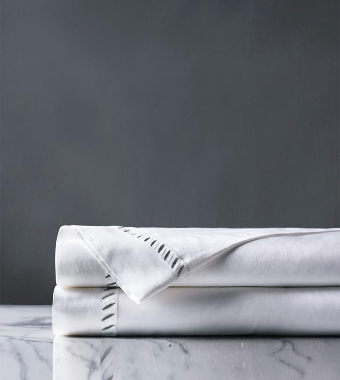 Ona Charcoal Flat Sheet - flat sheet,queen flat sheet,gray sheet,washable flat sheet,charocal sheet,high thread count flat sheet,egyptian cotton flat sheet,luxury linen,luxury flat sheet,high end bedding