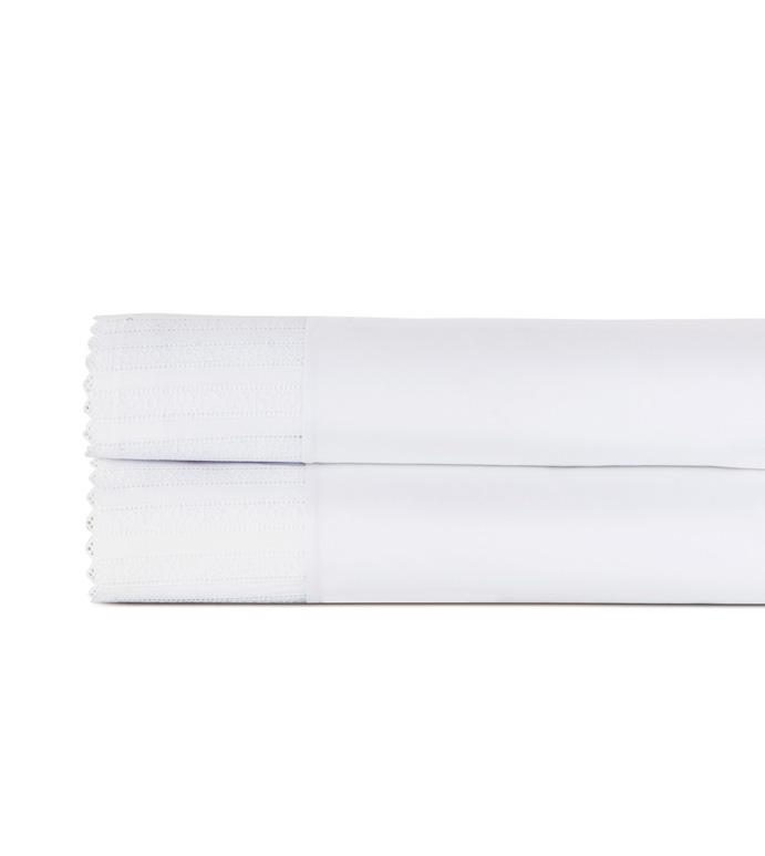 Abingdon White Flat Sheet - flat sheet,queen flat sheet,classic white sheet,washable flat sheet,lace flat sheet,high thread count flat sheet,egyptian cotton flat sheet,luxury linen,luxury flat sheet,bedding
