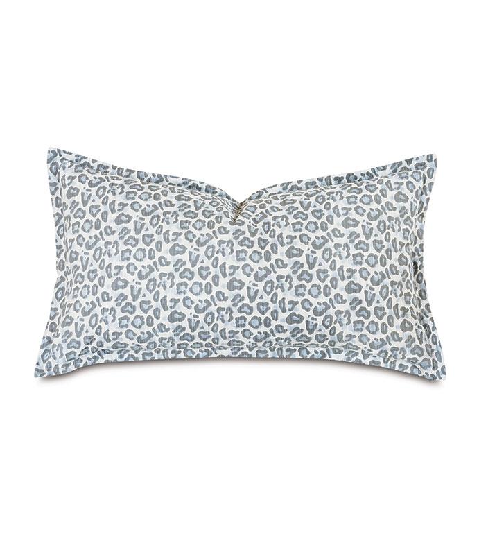 Liesl Leopard Print King Sham - ,21x37 pillow,animal print pillow,pastel animal print,king sham pillow,pastel pillow,blue pillow,luxury pillow,celerie kemble,self flange edge finish,leopard print pillow,