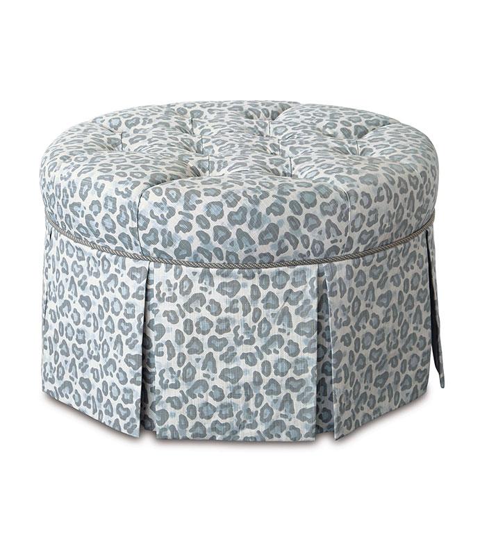 Liesl Leopard Print Ottoman - ,round ottoman,floral ottoman,leopard print,luxury ottoman,vanity stool,custom upholstery,animal print upholstery,luxury upholstery, blue ottoman,