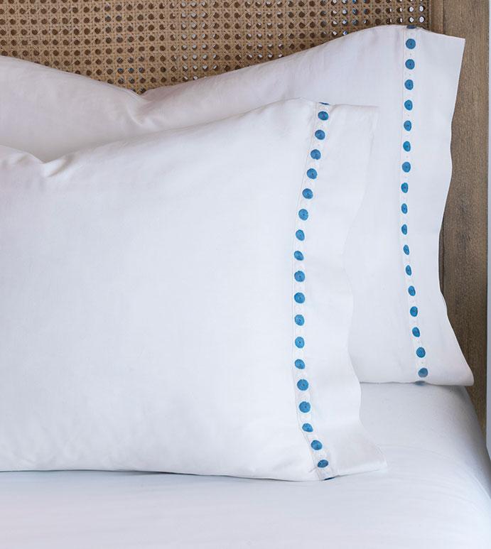 Tivoli Ocean Pillowcase - pillowcase,white pillowcase,luxury linen,blue pillow case,high thread count pillow case,sateen pillow case,egyptian cotton pillow case,luxury bedding,fine linen,washable,bedding
