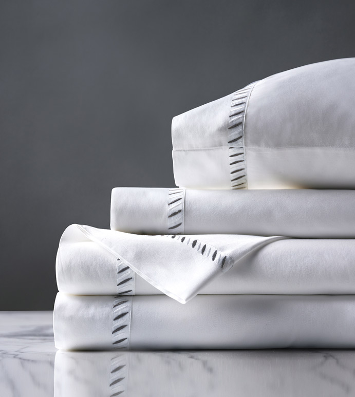 Ona Charcoal Sheet Set - sheet set,charcoal sheet set,gray sheet set,classic sheet set,washable sheet set,luxury sheets,high thread count sheets,gussetted sheets,luxury sheet set,egyptian sheets,bedding