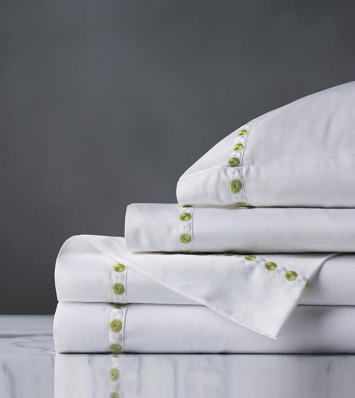Tivoli Lime Sheet Set - sheet set,white sheet set,lime sheet set,classic sheet set,washable sheet set,luxury sheets,high thread count,sheets,gussetted sheets,luxury sheet set,egyptian sheets,bedding