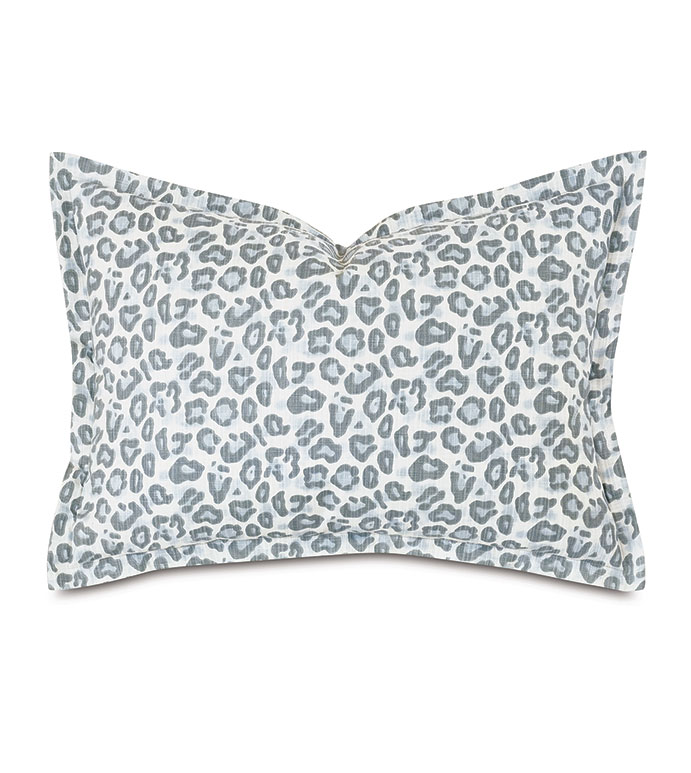 Liesl Leopard Print Standard Sham - ,20x27 pillow,animal print pillow,pastel animal print,standard sham pillow,pastel pillow,blue pillow,luxury pillow,celerie kemble,self flange edge finish,