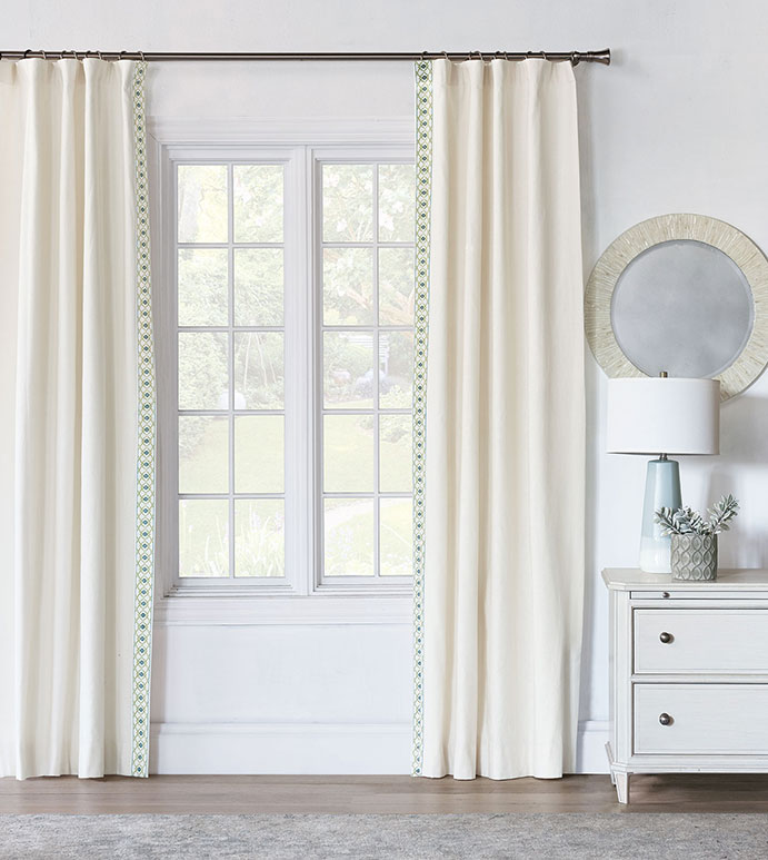 Filly White Curtain Panel Left - WHITE CURTAIN WITH ACCENT TRIM,WHITE ROD POCKET CURTAIN,NEUTRAL GIRLS DRAPERY,WHITE AND BLUE,WHITE AND GREEN,FLORAL,FEMININE,NEUTRAL,CASUAL CONTEMPORARY,TWEEN ROOM DRAPERY,TRIM