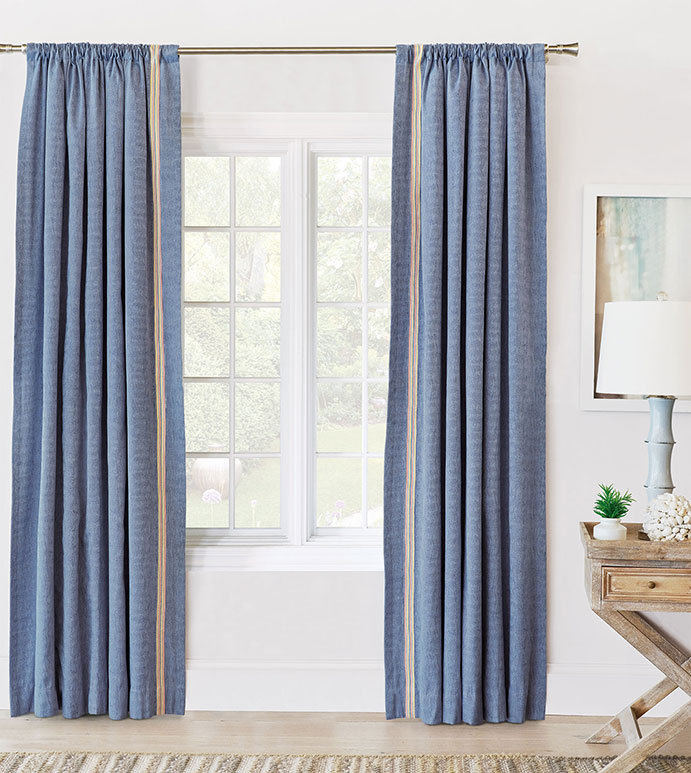 Paloma Woven Curtain Panel Left - ROD POCKET,CURTAIN,DRAPERIES,CURTAIN PANEL,WOVEN,WAVY,BLUE,PRIMARY,MULTICOLORED,TRIM APPLICATION,TRIM,KIDS,CHILDRENS,LUXURY,HIGH QUALITY,HIGH END,EASTERN ACCENTS,COLORFUL,BRIGHT,