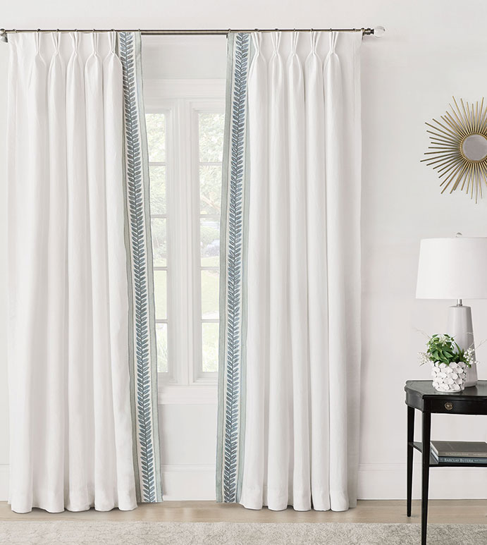 Amberlynn Velvet Leaf Curtain Panel (Left) - ,pinch pleat,pinch pleat curtain,white curtain,linen curtain,100% linen,white linen,white curtain panel,linen drapery, luxury curtains,embroidered curtains,white drapes,