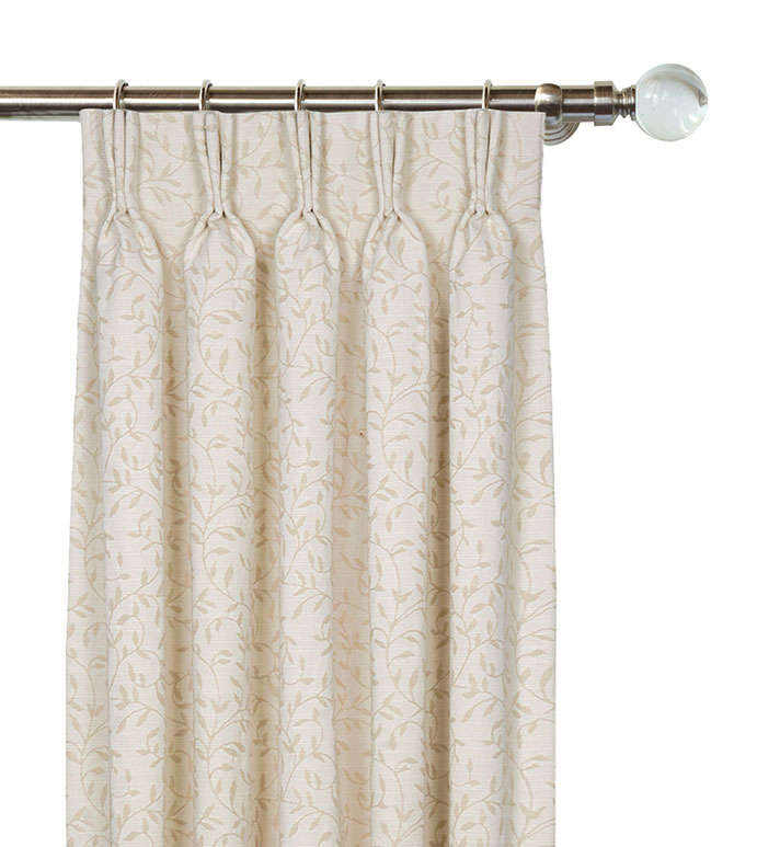 Hayes Blossom Curtain Panel Right - IVORY CLASSIC DRAPERY,TRADITIONAL HOME DRAPERY,NEUTRAL TRADITIONAL CURTAIN,IVORY PLEATED CURTAIN,BOTANICAL DRAPERY,CREAM PINCH PLEAT CURTAIN,WOVEN BOTANICAL,VICTORIAN CURTAIN,WOVEN