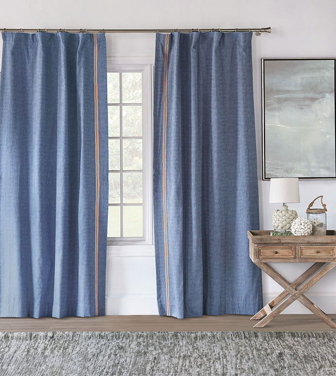 Paloma Woven Curtain Panel Right - ROD POCKET,CURTAIN,DRAPERIES,CURTAIN PANEL,WOVEN,WAVY,BLUE,PRIMARY,MULTICOLORED,TRIM APPLICATION,TRIM,KIDS,CHILDRENS,LUXURY,HIGH QUALITY,HIGH END,EASTERN ACCENTS,COLORFUL,BRIGHT,