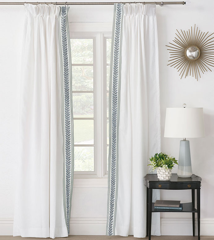 Amberlynn Velvet Leaf Curtain Panel (Right) - ,pinch pleat,pinch pleat curtain,white curtain,linen curtain,100% linen,white linen,white curtain panel,linen drapery, luxury curtains,embroidered curtains,white drapes,